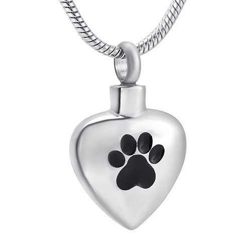 J-504 Stainless Steel Cremation Urn Pendant w/Chain – Heart w/Single Paw Paw