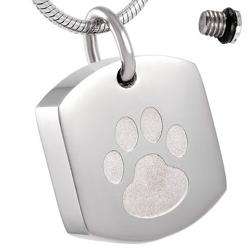 J-8003-S – Stainless Steel Cremation Urn Pendant w/Chain – Tag – Paw Print
