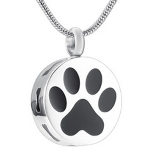 J-400 Stainless Steel Cremation Urn Pendant w/Chain – Circle with Paw Print