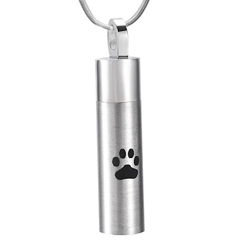 PFPC J-016 Stainless Steel Cremation Urn Pendant w/Chain – Cylinder w/Single Paw