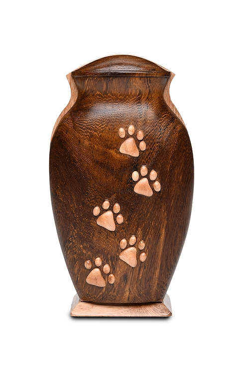 PFPC Black Walnut and Beech Woods Pet Urn w/Five Paws – V-5PPKL