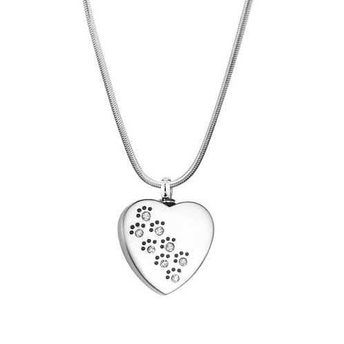 J-623 Stainless Steel Cremation Urn Pendant with Chain – Heart – Paw Prints