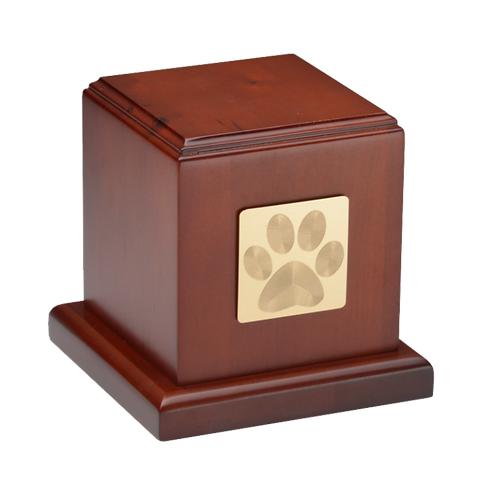 HB-105-Cherry – Birch Wood Cube Cremation Urn with Cherry Finish – Small with Pa