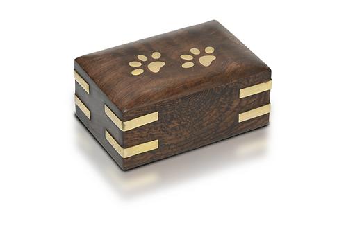 PFPC Wooden Pet Urn w/Brass Paws & Brass Corners 10 cu. in. – RW-PP-Extra Small