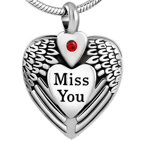 "PFPC J-060 Stainless Steel Cremation Urn Pendant w/Chain – ""Miss You"" Heart"