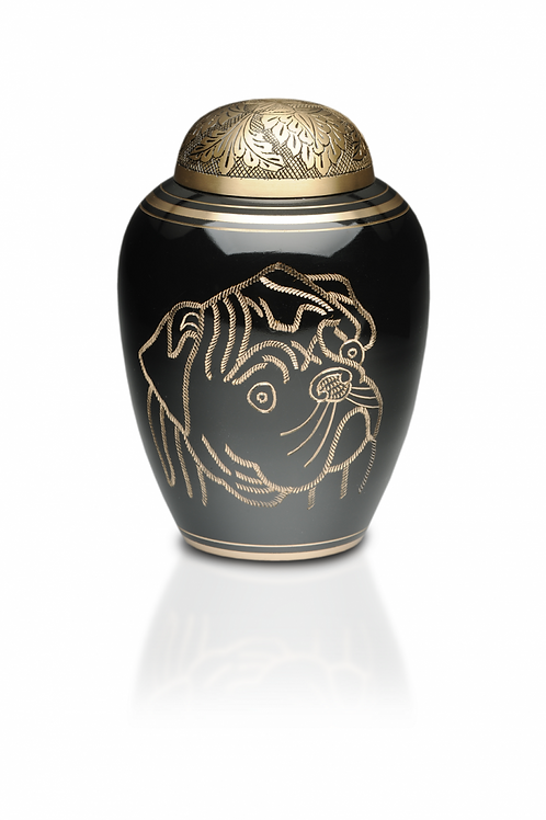 Solid Brass Crematon Urn with Hand-Etched Pug – Medium – #1812-M