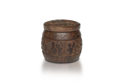 "PFPC Rosewood ""Paw Pot"" Urn with Hand-Carved Paw Prints – RW-WA0017"