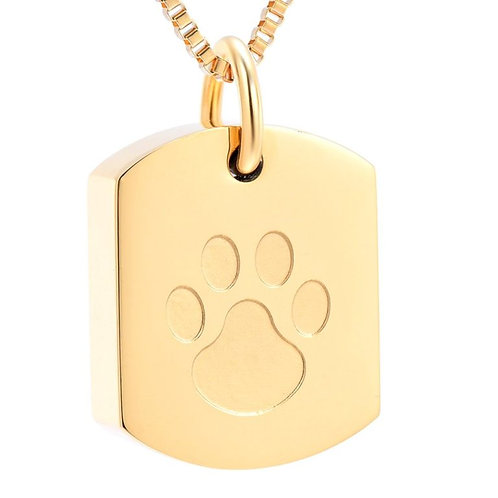 J-8003-GOLD TONE – Stainless Steel Cremation Urn Pendant w/Chain – Tag – Paw