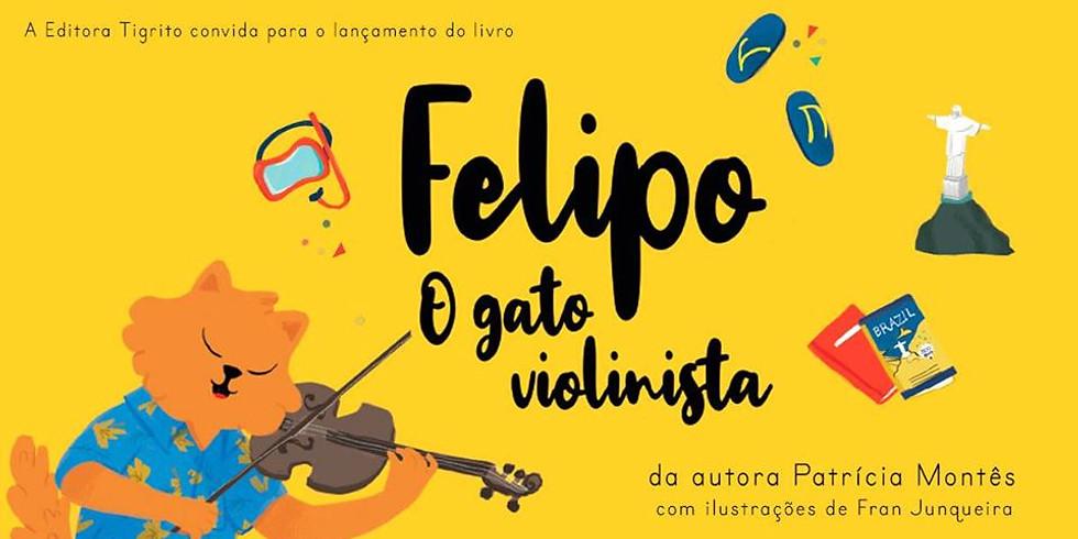 Contação de histórias no lançamento do livro Felipo - o gato violinista