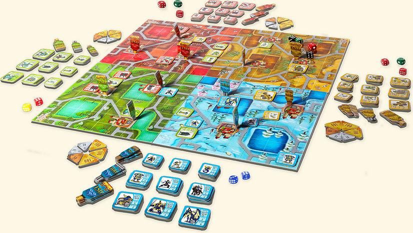 לוח המשחק זבריס, כל החלקים על השולחן דוגמה, דוגמא