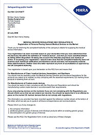 Heeley Surgical Ltd MHRA Registration Letter