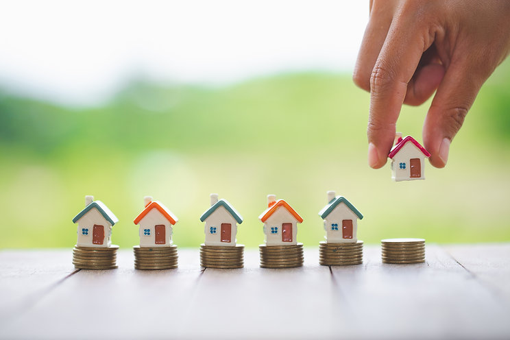 Woman's hand putting house model on coin