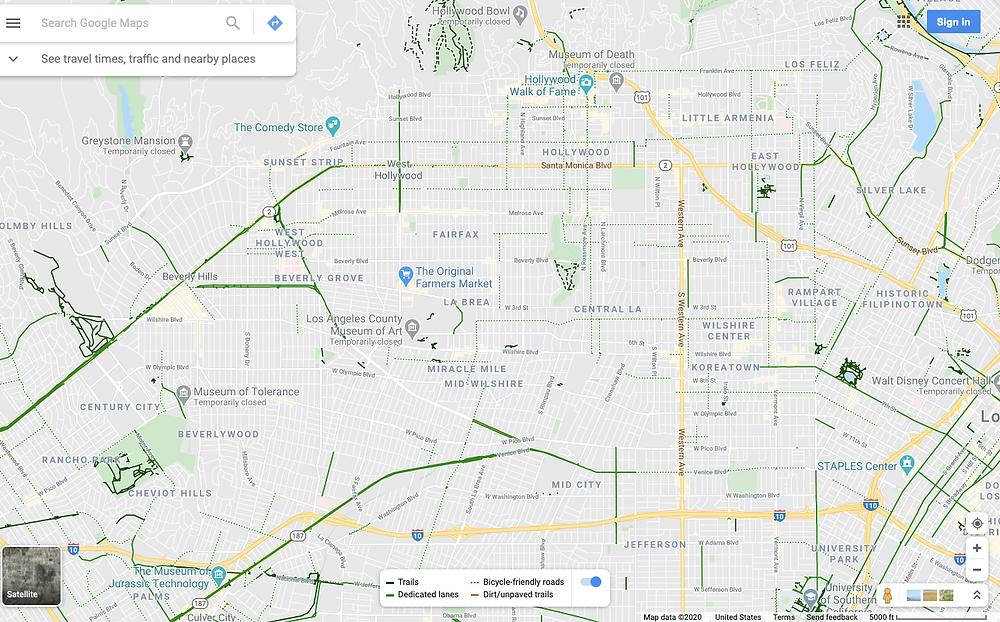 LA bike lanes, Los Angeles bike lanes, Google Maps bike lanes in LA