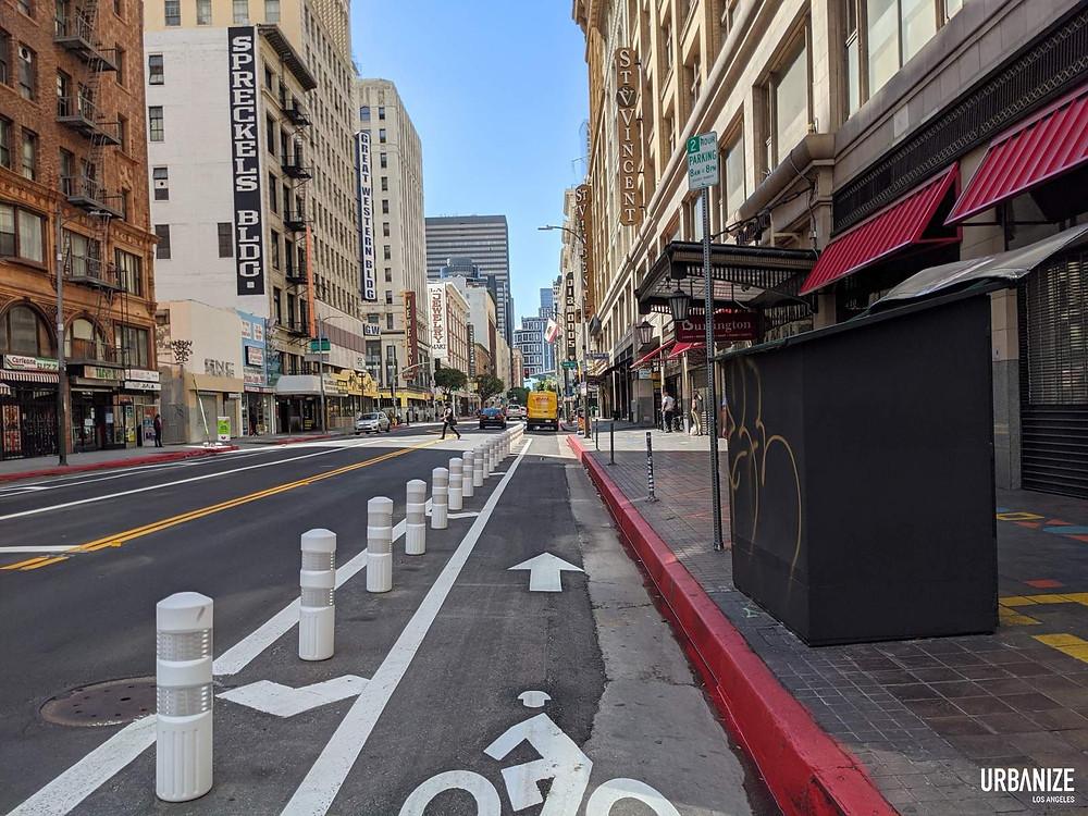 protected bike lane, los angeles protected bike lane, dtla protected bike lane