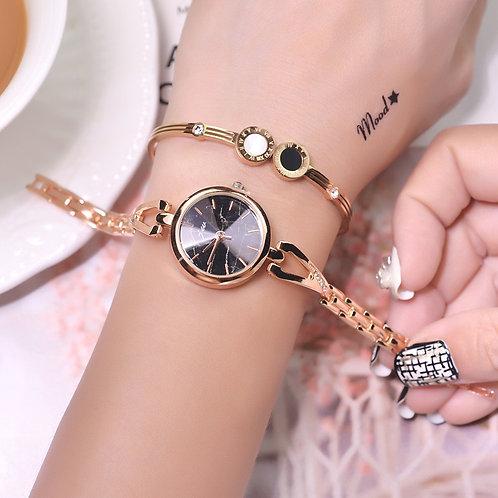 Golden Stainless Steel Women Fashion Bracelet Watch