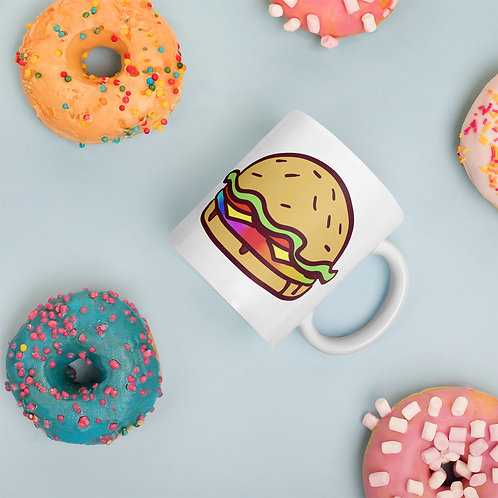 Rainbow Burger White glossy mug