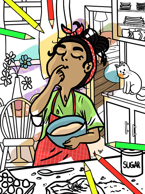 Coloring page girl cooking printable