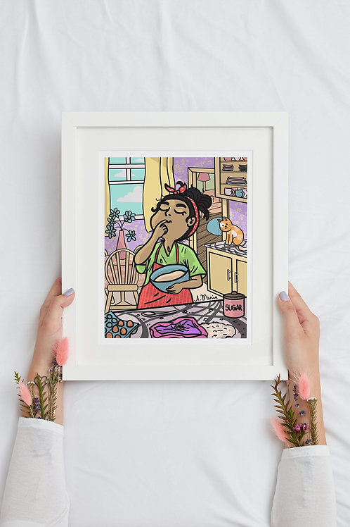 Girl cooking printable wall decor