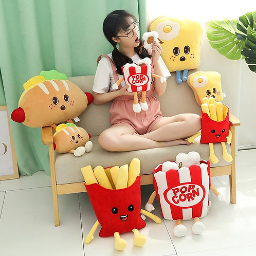 French Fries/Pizza/Bread/Popcorn/Burger/Chicken Leg Plush Pillow
