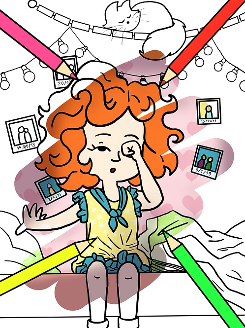 Coloring page girl waking up printable