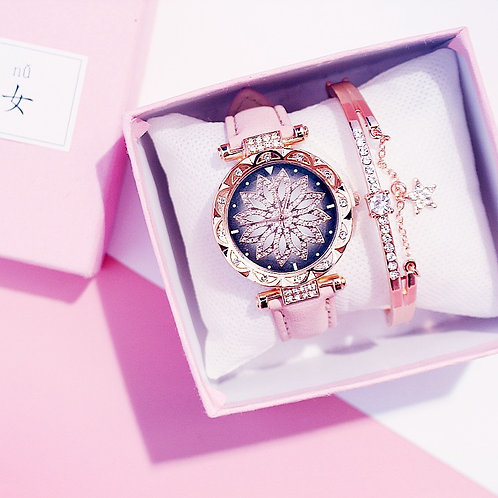 Women Watches Bracelet Set Starry Sky Ladies Bracelet