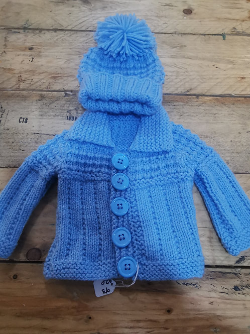 Hand knitted Blue cardigan and hat