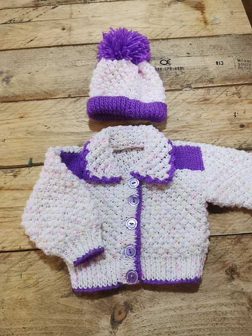 Hand knitted sparkling cardigan and hat
