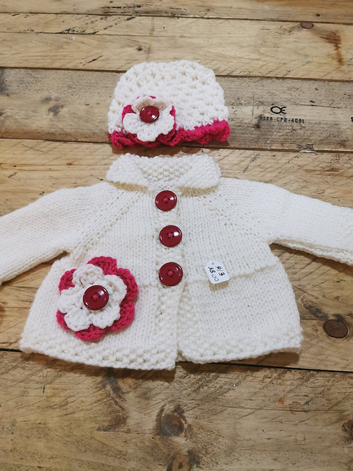 Hand knitted cream and red cardigan with hat