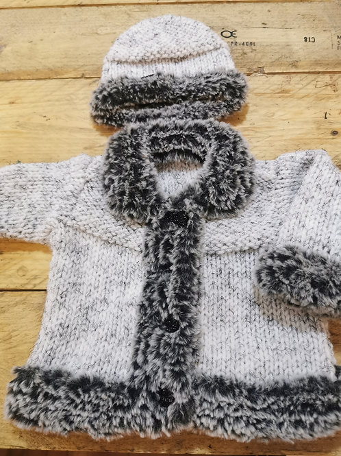 Hand knitted grey winter cardigan