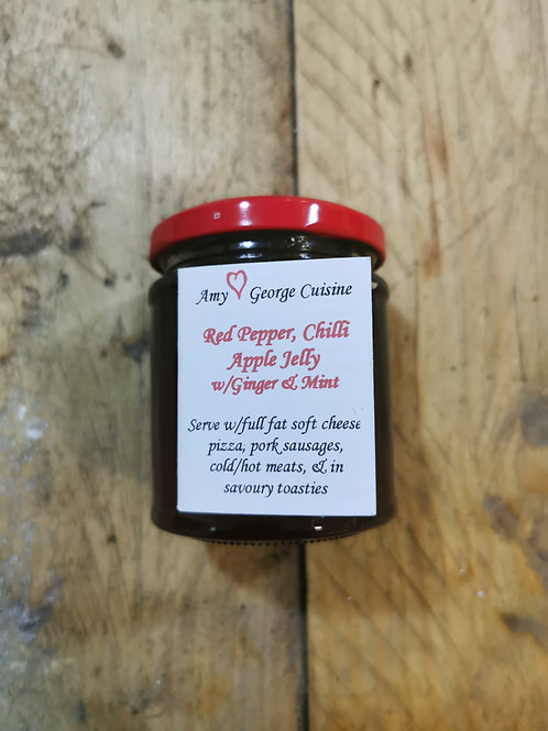 Red Pepper, chilli Apple jelly with ginger and mint