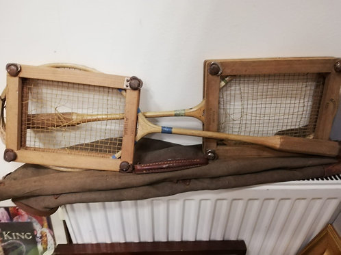 Vintage badminton rackets and bag