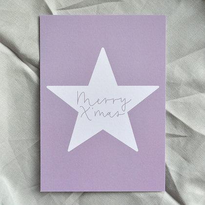 """Karte A6 """"Merry X'mas"""", lila"""