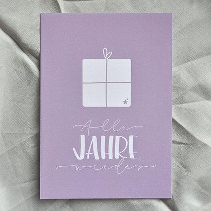 """Karte A6 """"Alle Jahre wieder"""", lila"""