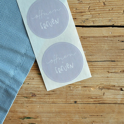 "Sticker lila ""öffnen + freuen"" (5 Stk.)"