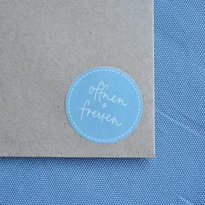 """Sticker blau """"öffnen + freuen"""" (5 Stk.)"""