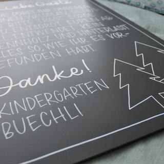 Tafelbeschriftung für Kindergarten