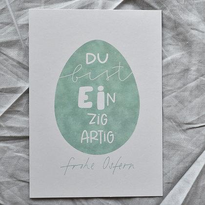 """Karte A6 """"Du bist EInzigartig"""", grün"""