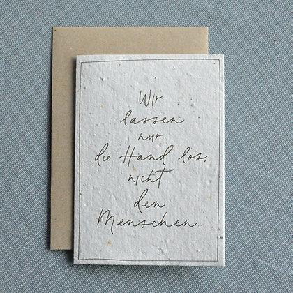 "Saat-Trauerkarte A6, ""Wir lassen nur die Hand los"""