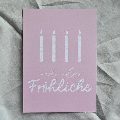 """Karte A6 """"oh du Fröhliche"""", rosa"""