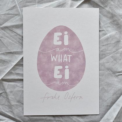 """Karte A6 """"Ei am what Ei am"""", lila"""