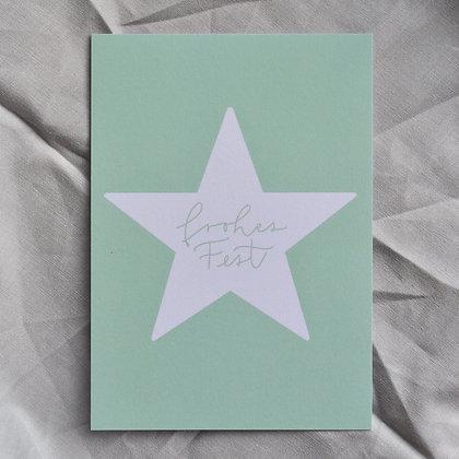 """Karte A6 """"frohes Fest"""", hellgrün"""