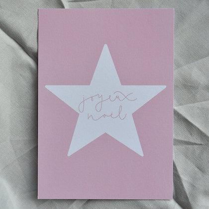 """Karte A6 """"joyeux noël"""", rosa"""
