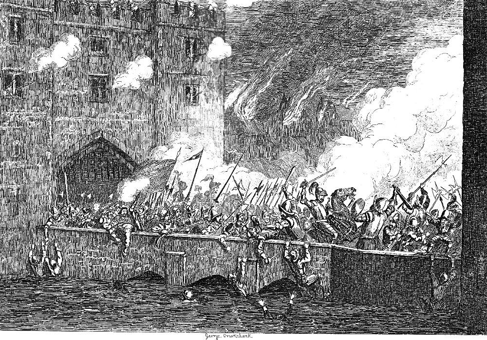 Black and white image of men fighting on a bridge with lances and other weapons common in Tudor-era England