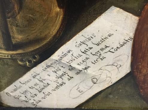 Detail of Latin verse.