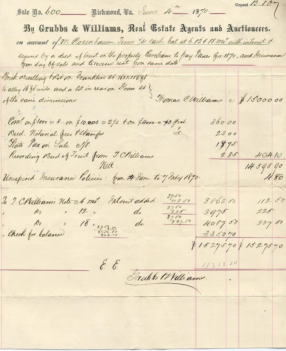 Historic receipt for 816 W Franklin Street residence