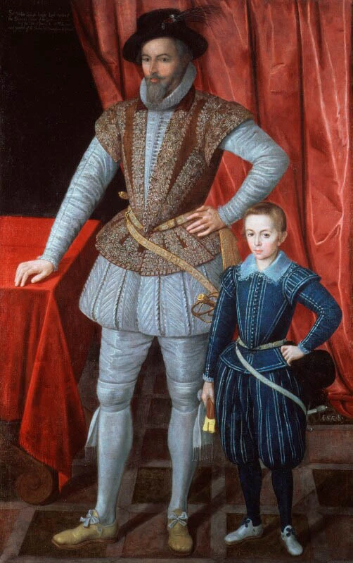 Men and young boy dressed in 17th century clothing in front of a red cloth background