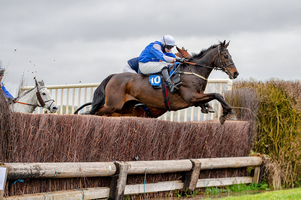 Ben Sutton in the Mens race at Kimblewick Point to Point in March 2021. Bramble Brook for Alan Hill