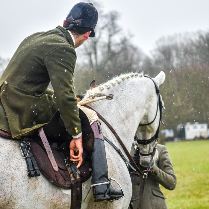 Preparing for second horses in the snow with the Beaufort Hunt. Last meet of the 2020/21 season due to Corona Virus lockdowns