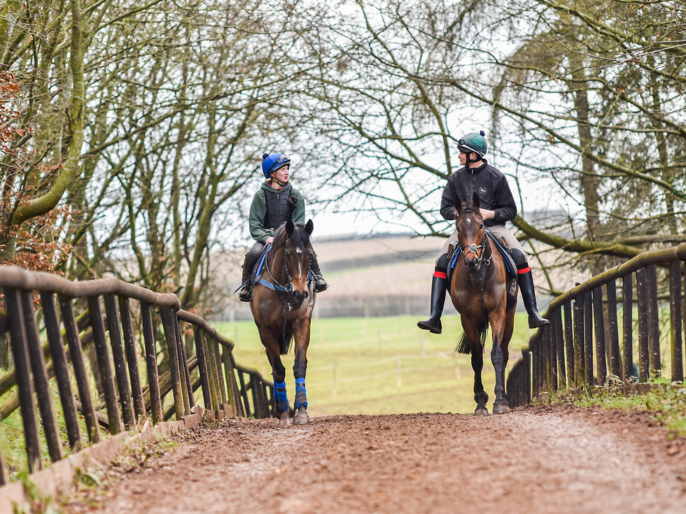 Flora Guy and Lawry Jordon, riding out for Venetia Williams