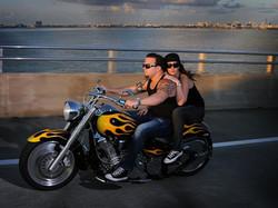 Jen enjoying the bike with her husband